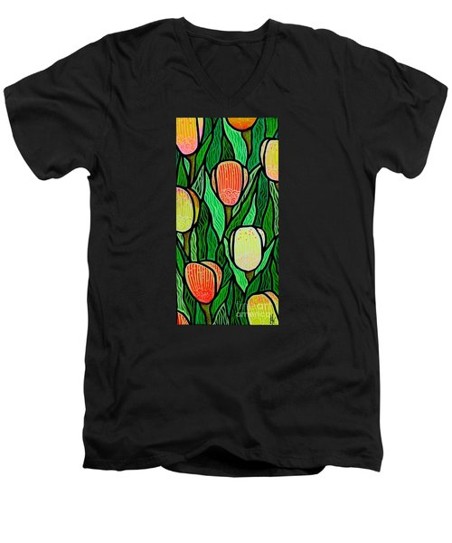 Men's V-Neck T-Shirt featuring the painting Tulip Joy 2 by Jim Harris
