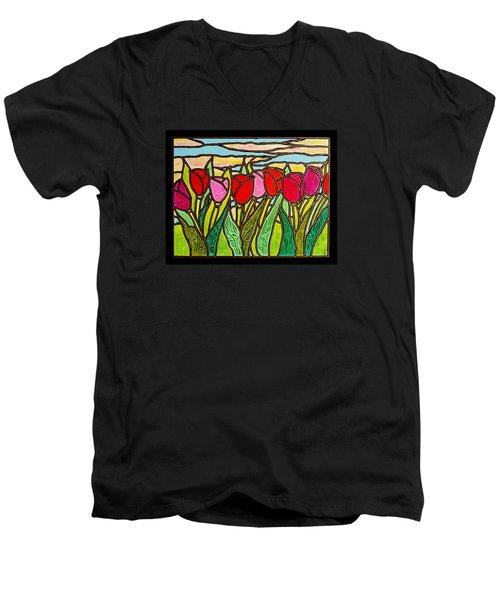 Tulips At Sunrise Men's V-Neck T-Shirt