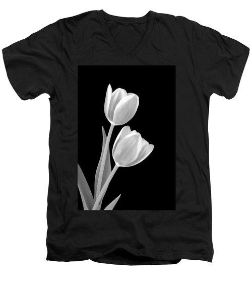 Tulips In Black And White Men's V-Neck T-Shirt