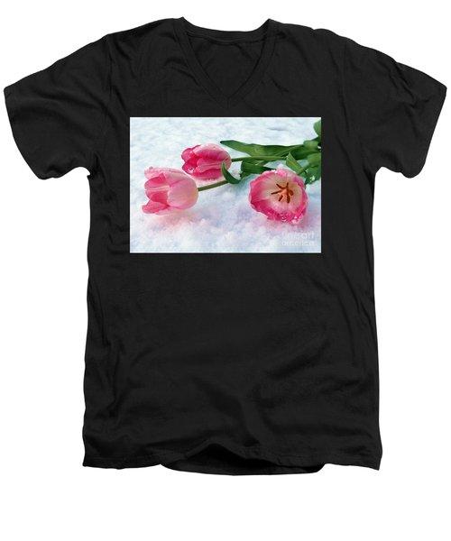 Tulips In Snow Men's V-Neck T-Shirt