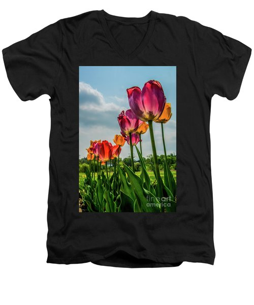 Tulips In The Spring Men's V-Neck T-Shirt by Jane Axman