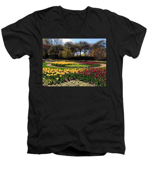Tulips In The Spring Men's V-Neck T-Shirt by Teresa Schomig