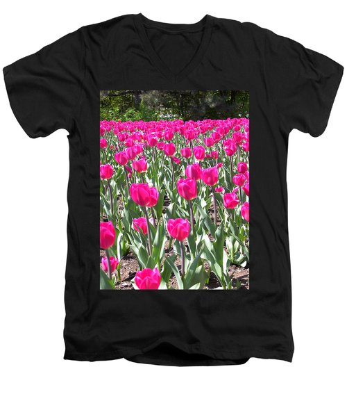 Men's V-Neck T-Shirt featuring the photograph Tulips by Mary-Lee Sanders