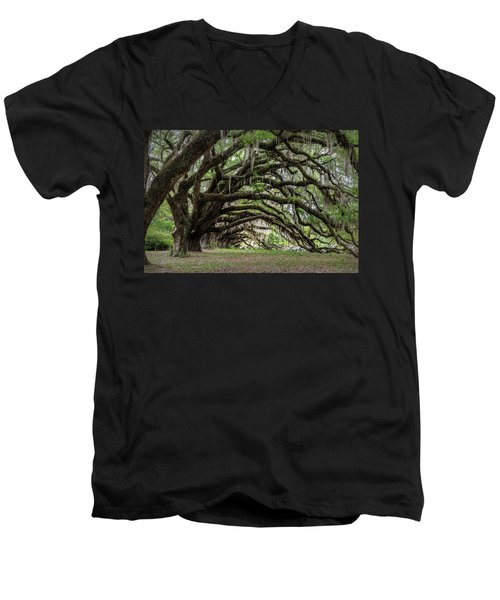 Men's V-Neck T-Shirt featuring the photograph Tunnel In Charleston by Jon Glaser