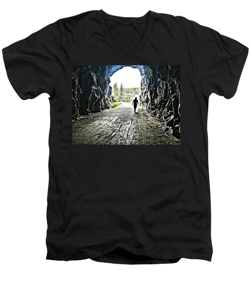 Tunnel Vision Men's V-Neck T-Shirt by Nadine Dennis
