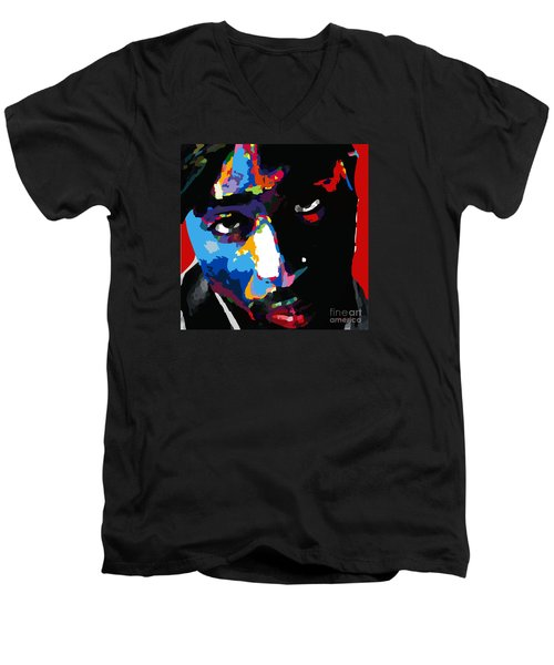 Tupac Shakur Men's V-Neck T-Shirt