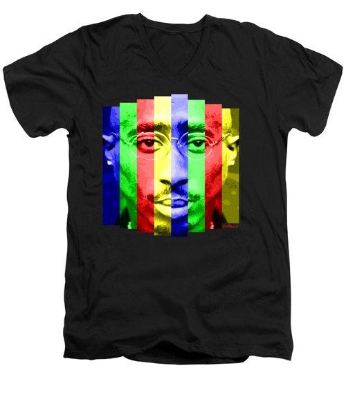Tupac Stripes  Men's V-Neck T-Shirt