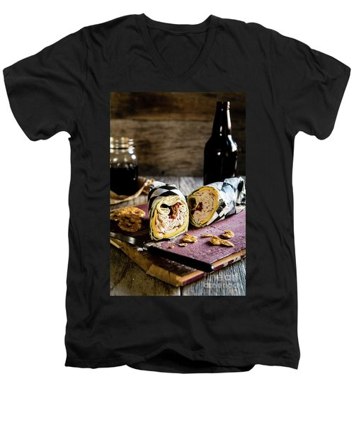 Men's V-Neck T-Shirt featuring the photograph Turkey Bacon Wrap 2 by Deborah Klubertanz