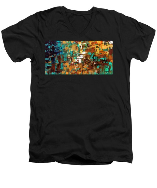 Men's V-Neck T-Shirt featuring the painting Turquoise Scent by Carmen Guedez