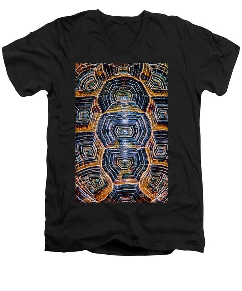 Turtle Madness Men's V-Neck T-Shirt by Mariola Bitner