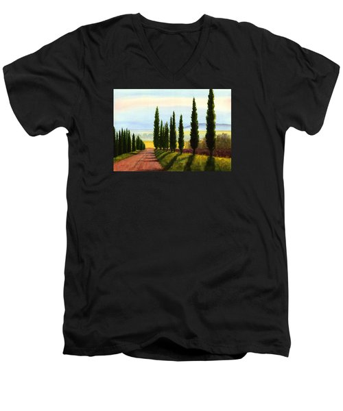 Tuscany Cypress Trees Men's V-Neck T-Shirt