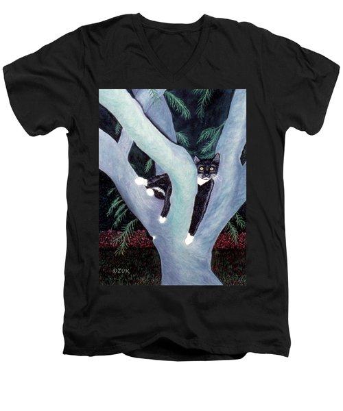 Tuxedo Cat In Mimosa Tree Men's V-Neck T-Shirt