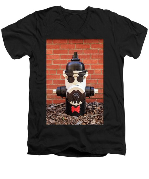 Men's V-Neck T-Shirt featuring the photograph Tuxedo Hydrant by James Eddy