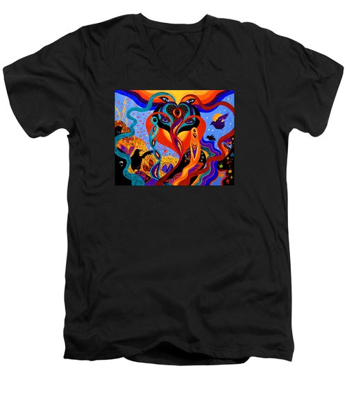 Men's V-Neck T-Shirt featuring the painting Karmic Lovers by Marina Petro