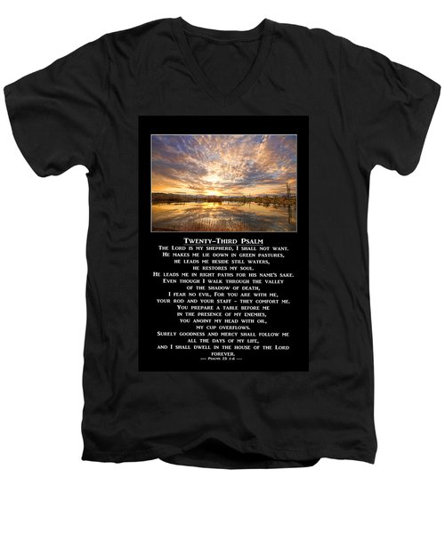 Twenty-third Psalm Prayer Men's V-Neck T-Shirt