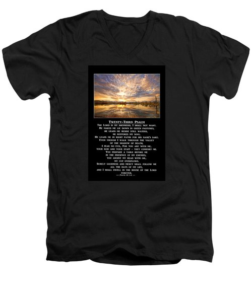 Twenty-third Psalm Prayer Men's V-Neck T-Shirt