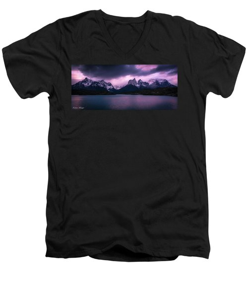 Men's V-Neck T-Shirt featuring the photograph Twilight Over The Lake by Andrew Matwijec