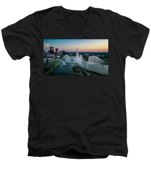 Twilight At The Fountains Men's V-Neck T-Shirt