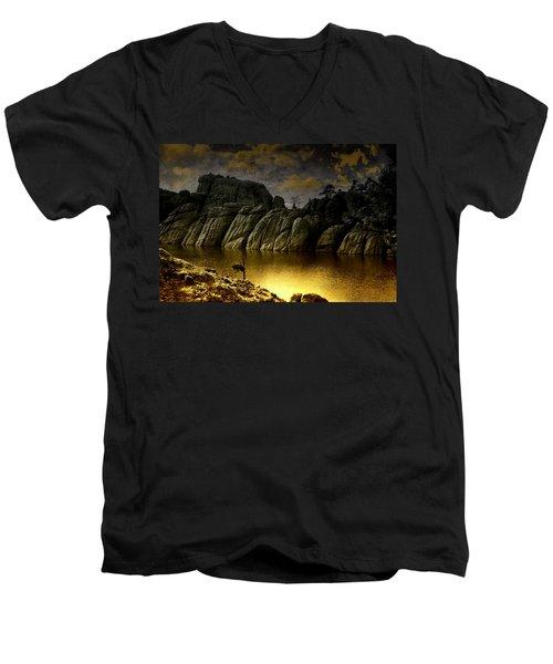 Twilight At The Lake Men's V-Neck T-Shirt