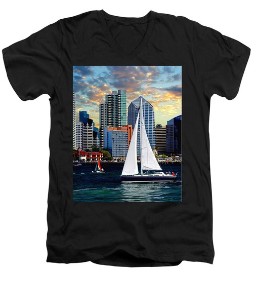 Twilight Harbor Curise1 Men's V-Neck T-Shirt
