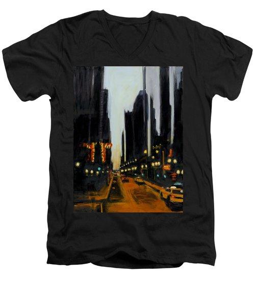 Twilight In Chicago Men's V-Neck T-Shirt