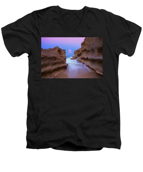 Twilight Moon Rising Over Hutchinson Island Beach Rocks Men's V-Neck T-Shirt