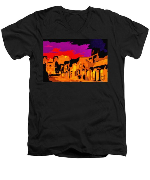 Twilight On The Plaza Santa Fe Men's V-Neck T-Shirt