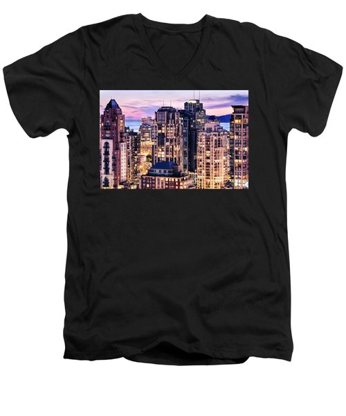 Twilight Over English Bay Vancouver Men's V-Neck T-Shirt by Amyn Nasser