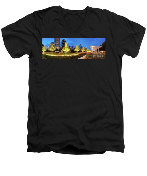 Twilight Panorama Of Klyde Warren Park And Downtown Dallas Skyline - North Texas Men's V-Neck T-Shirt