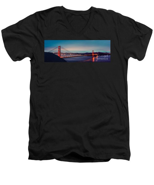 Twilight Panorama Of The Golden Gate Bridge From The Marin Headlands - San Francisco California Men's V-Neck T-Shirt