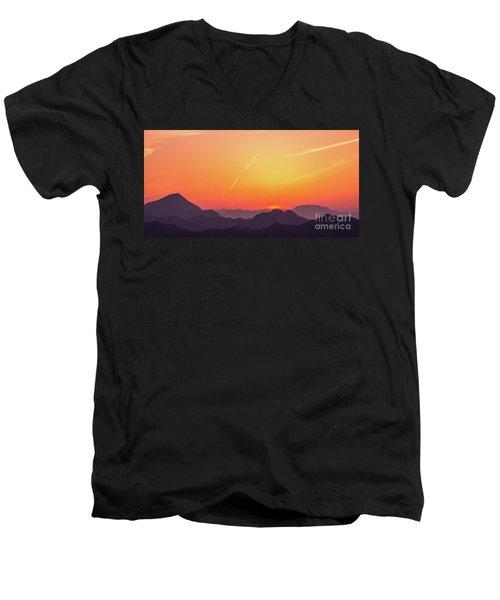 Men's V-Neck T-Shirt featuring the photograph Twilight by Tatsuya Atarashi