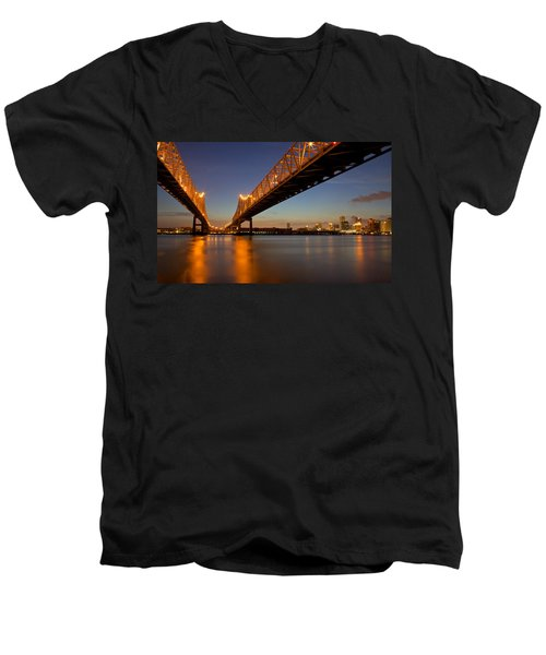 Men's V-Neck T-Shirt featuring the photograph Twin Bridges by Evgeny Vasenev