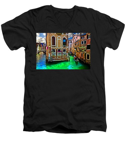 Twin Canals Men's V-Neck T-Shirt by Harry Spitz