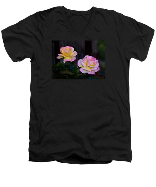 Twin Roses Men's V-Neck T-Shirt by Josephine Buschman