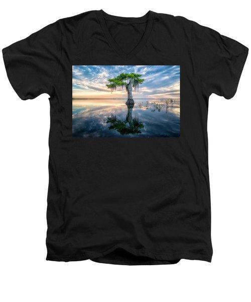Twisted Cypress Mirror Men's V-Neck T-Shirt