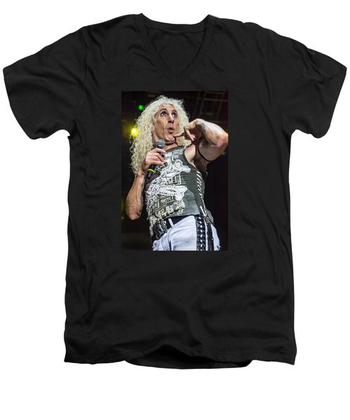 Men's V-Neck T-Shirt featuring the photograph Twisted Sister - Dee Snider by Stefan Nielsen