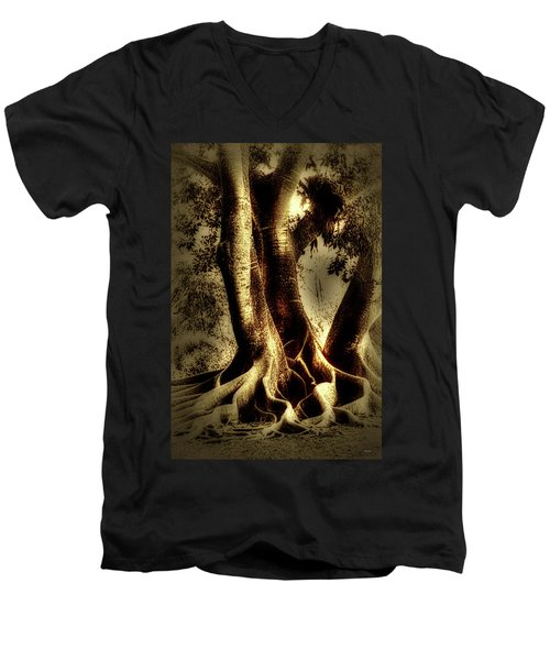 Men's V-Neck T-Shirt featuring the photograph Twisted Trees by Tom Prendergast