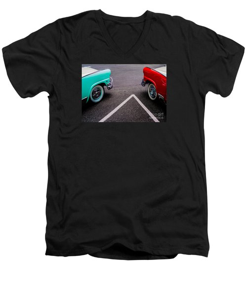 Men's V-Neck T-Shirt featuring the photograph Two 1958 Ford Crown Victorias by M G Whittingham