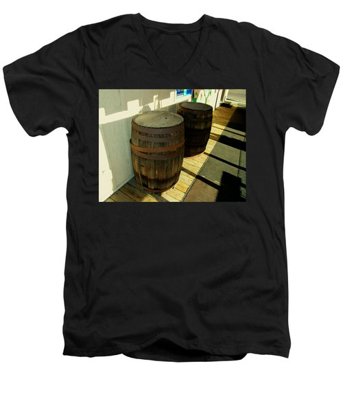 Men's V-Neck T-Shirt featuring the photograph Two Barrels by Lenore Senior