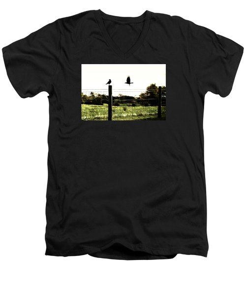 Two Birds Men's V-Neck T-Shirt by Carlee Ojeda
