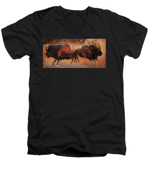 Two Bisons Running Men's V-Neck T-Shirt