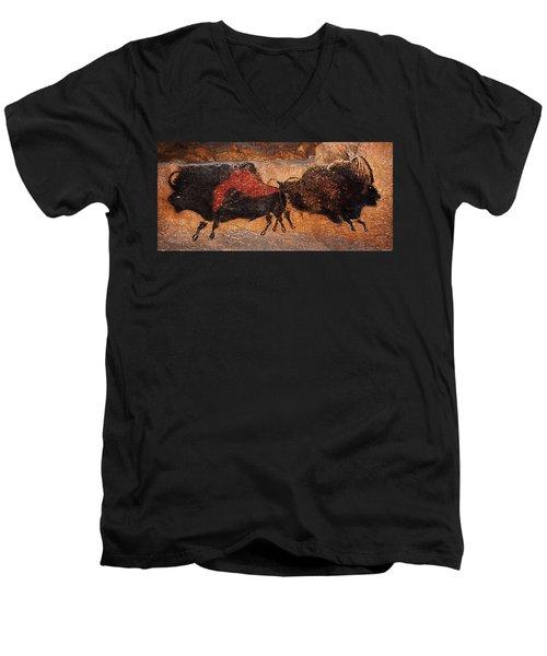 Two Bisons Running Men's V-Neck T-Shirt