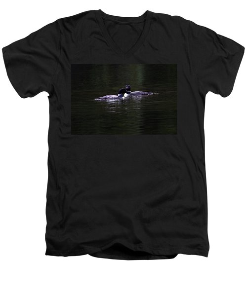 Two Common Loons At Sunset Men's V-Neck T-Shirt