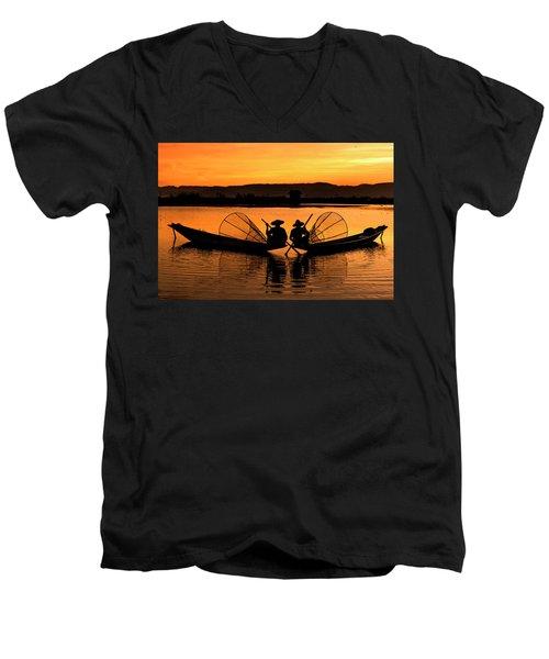 Two Fisherman At Sunset Men's V-Neck T-Shirt