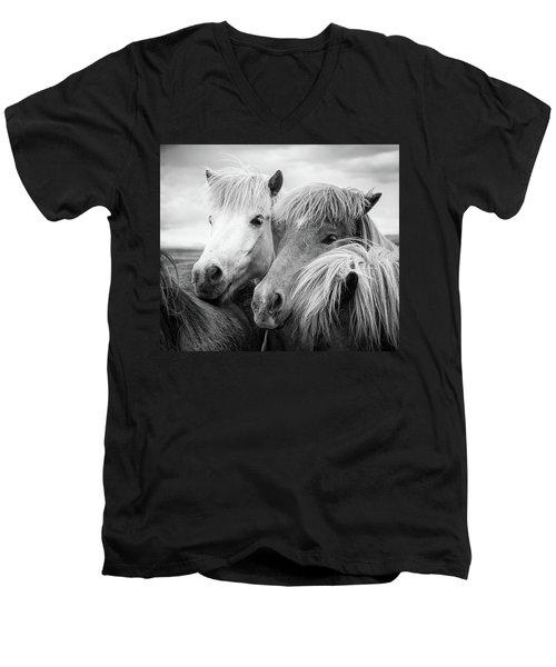 Two Icelandic Horses Black And White Men's V-Neck T-Shirt
