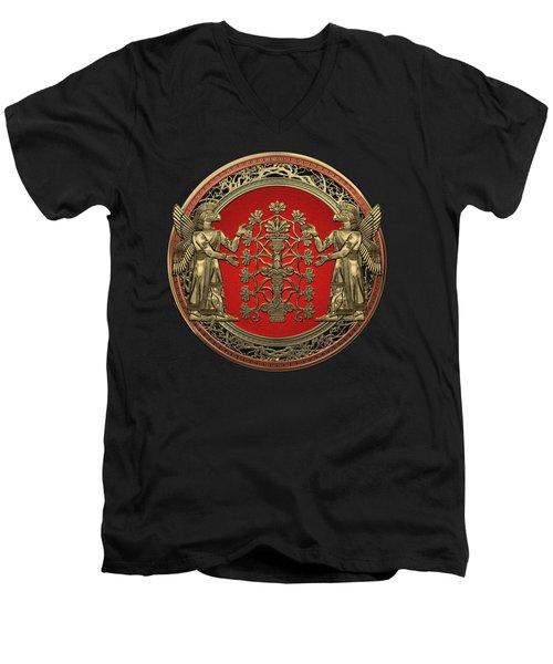 Two Instances Of Gold God Ninurta With Tree Of Life Black Velvet Men's V-Neck T-Shirt