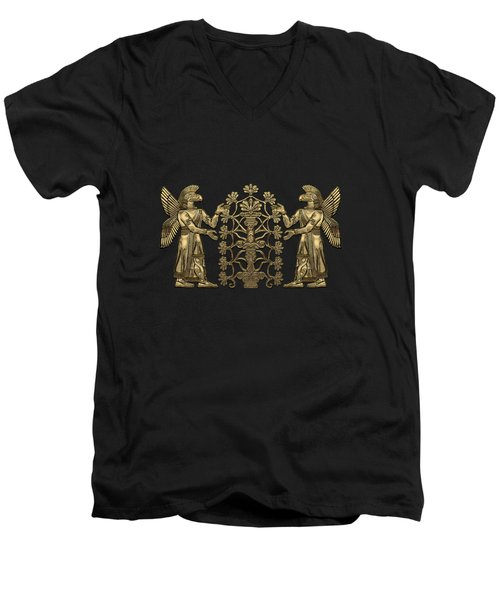 Two Instances Of Gold God Ninurta With Tree Of Life Over Black Canvas Men's V-Neck T-Shirt
