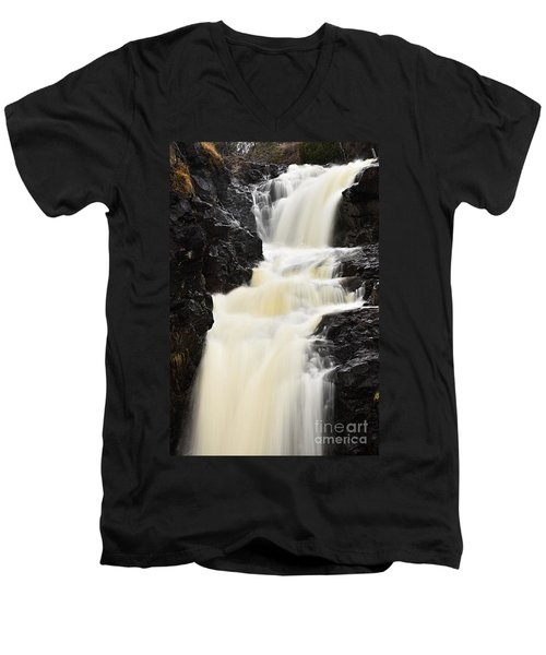 Men's V-Neck T-Shirt featuring the photograph Two Island River Waterfall by Larry Ricker
