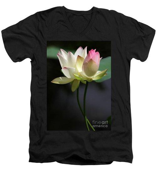 Two Lotus Flowers Men's V-Neck T-Shirt