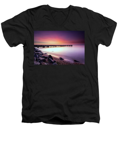 Men's V-Neck T-Shirt featuring the photograph Two Minutes Of Blue Hour   by Edward Kreis
